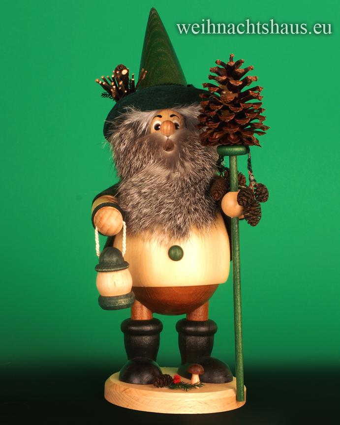 Seiffen Weihnachtshaus - <!--05-->Räuchermann Wichtel  Zapfenwichtel Raeucherwichtel mit Zapfen - Bild 1