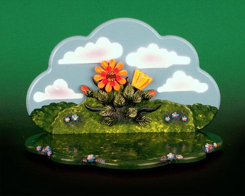 Seiffen Weihnachtshaus - Hubrig Wiese grün mit Himmel - Bild 1