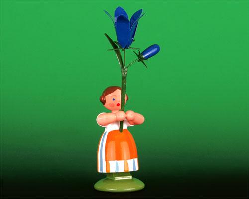 Seiffen Weihnachtshaus - Wiesenblumenkind 11cm Glockenblume - Bild 1