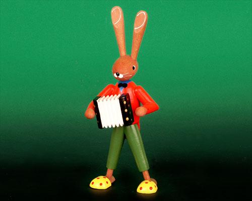 Seiffen Weihnachtshaus - Pantoffelhasenmusikant Akkordeon - Bild 1