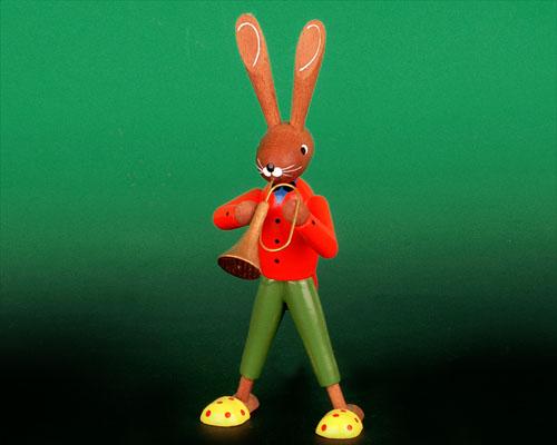 Seiffen Weihnachtshaus - Pantoffelhasenmusikant Trompete - Bild 1