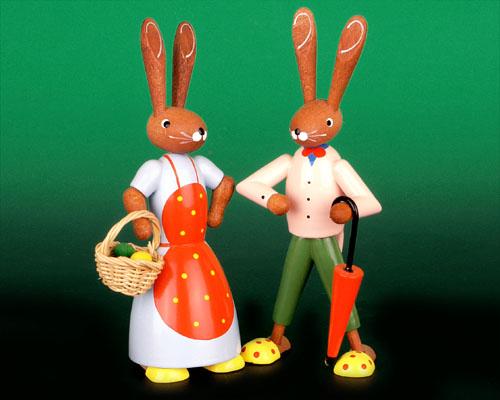 Seiffen Weihnachtshaus - Pantoffelhasenpaar - Bild 1
