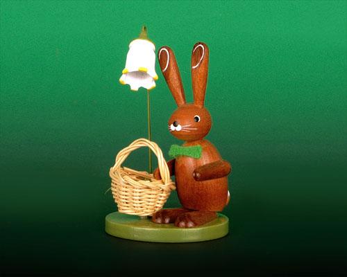 Seiffen Weihnachtshaus - Hase auf Sockel mit Korb - Bild 1