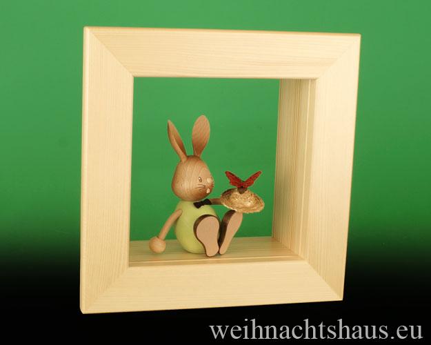 Seiffen Weihnachtshaus - Wandrahmen-Kastenrahmen natur Rahmen aus Holz    B 24 x H 24 cm - Bild 2