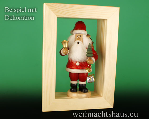 Seiffen Weihnachtshaus - Wandrahmen-Kastenrahmen natur Rahmen aus Holz    B 33 x H 24 cm - Bild 3